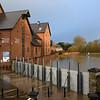 Flood defence barriers at Frankwell Shrewsbury, 8am 17-2-20.