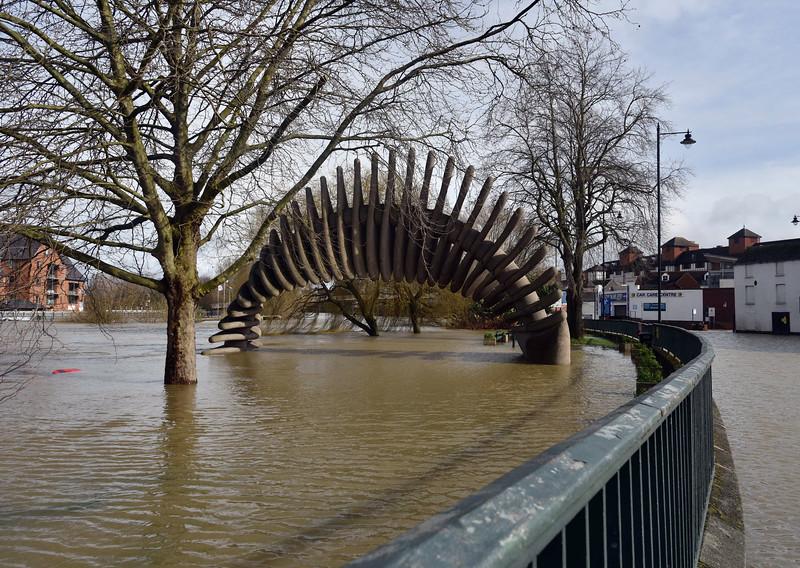 Shrewsbury floods around midday on 24th Feb 2020.<br /> The Quantum Leap.
