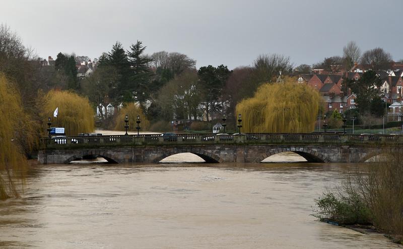 The river Severn at Welsh Bridge, Shrewsbury as of 8am, 17-2-20.