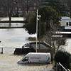 Shrewsbury floods around midday on 24th Feb 2020.<br /> A view from the town walls.