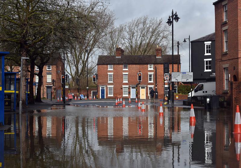 Shrewsbury floods around midday on 24th Feb 2020.<br /> Raven Meadows.