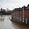Shrewsbury floods around midday on 24th Feb 2020.<br /> A view from the English Bridge.