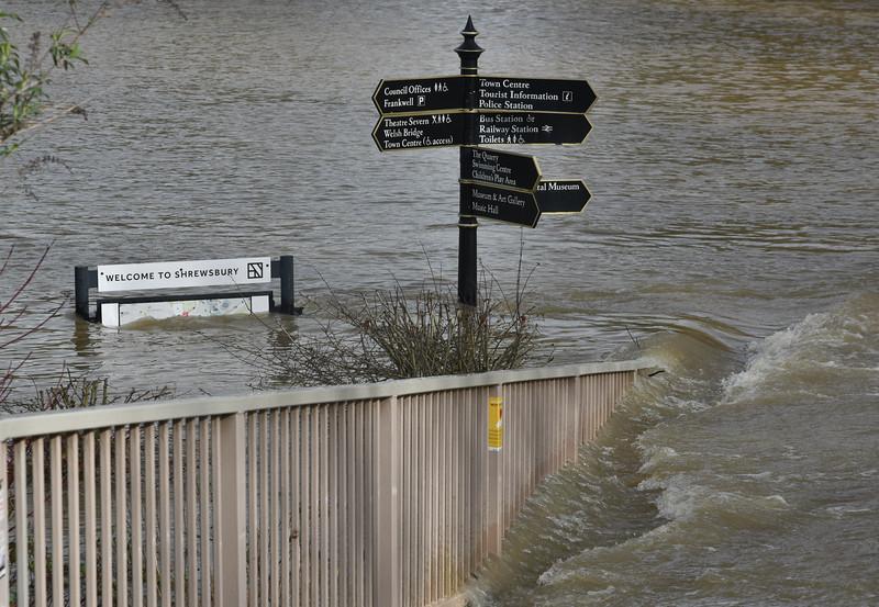 Shrewsbury floods around midday on 24th Feb 2020.<br /> Frankwell car park.