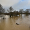The river Severn at Frankwell car park as of 8am, 17-2-20.