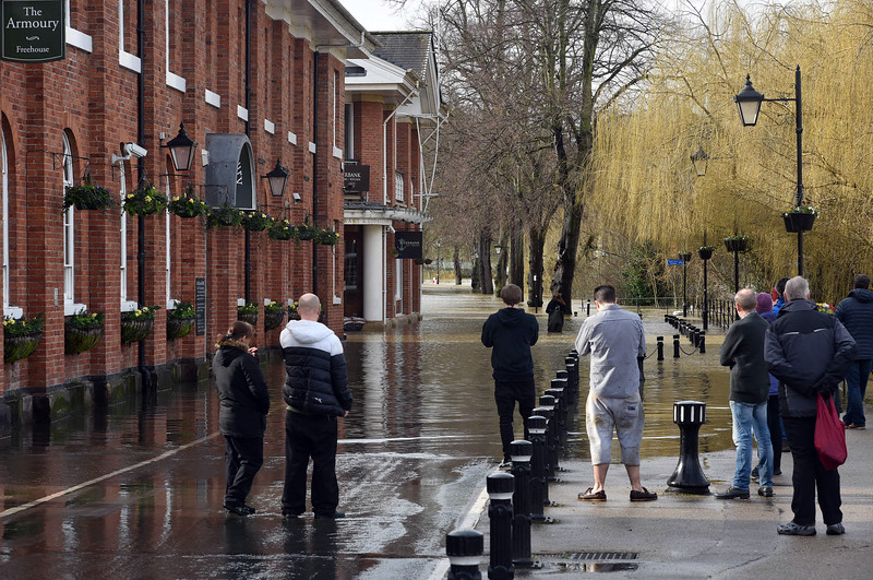 Shrewsbury floods around midday on 24th Feb 2020.<br /> Victoria Quay and The Armoury.
