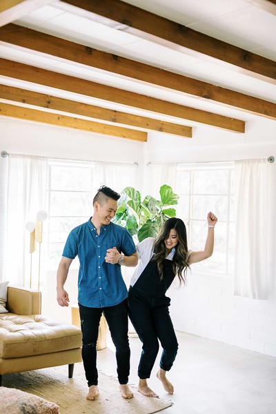 Why in-home session are so popular for every kind of photo session and even weddings - at home in Joshua Tree. | Kristen Krehbiel - Kristen Kay Photography | #boho #modern #couple #outfits