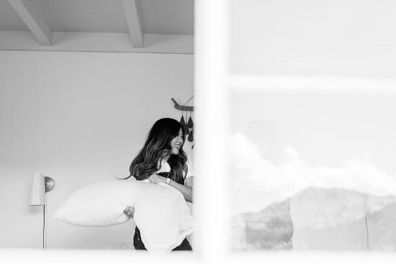At home session - Southern California lifestyle session at a modern, desert, boho home in Joshua Tree - Kristen Krehbiel - Kristen Kay Photography | #athome #travel #modern #couple #pillowfight