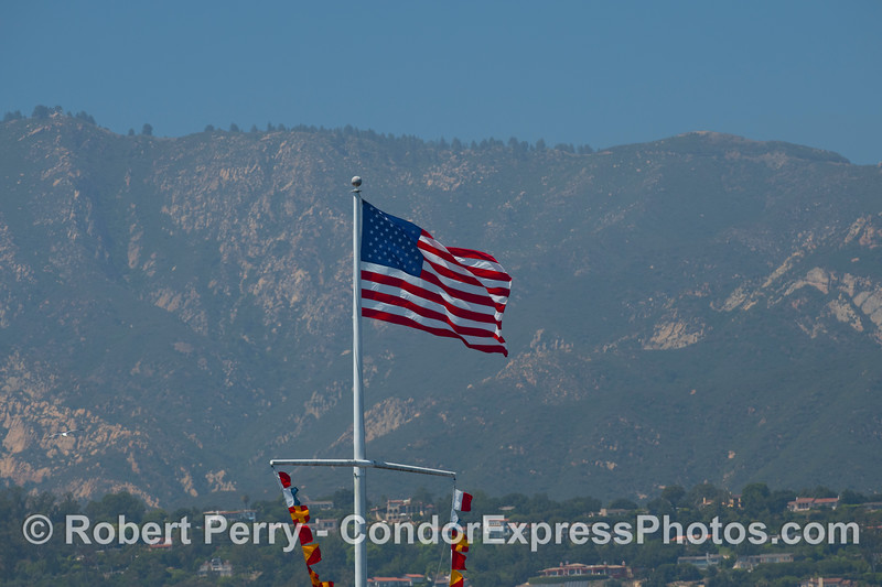 Flag, breeze, Santa  Barbara, Stern's Wharf