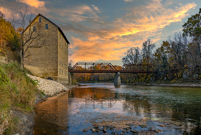 DA022,DP,Motor Mill sunset on the turkey river