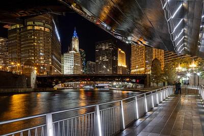 DA022,DT,Night time on the Chicago Riverwalk - Chicago Illinois