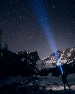 DA123,DT,Nighttime at Dream Lake in Rocky Mountain National Park in Colorado