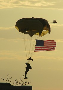 DA104,DJ, US Army Golden Knights Parachute Team Member makes a  Safe Landing at twilight