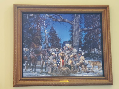 Print depicting the 43rd Virginia Cavalry in and around Warrenton, Virginia (on display at Gray Ghost Winery, Amissville, Virginia)