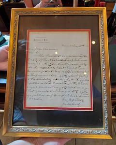 Letter written by Col. John S. Mosby (on display at Gray Ghost Winery, Amissville, Virginia)