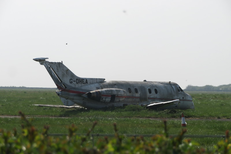 The remains of Hawker Siddeley HS G-DHEA at Cranfield Airport, 16.04.2020.