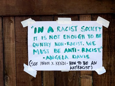 Sign on residential fence 6 8 20 by Nancy Ruin (1)