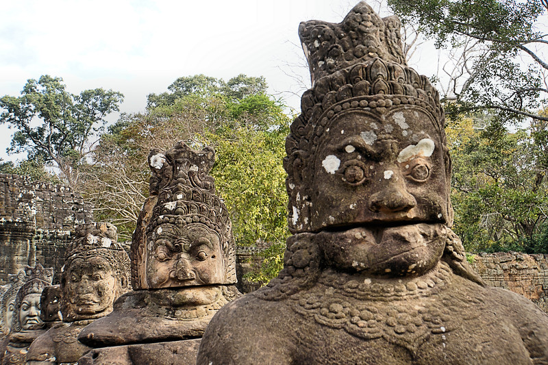 Demon Statues on the Bridge - Tole Om (South) Gate - Angkor Thom