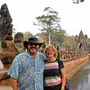 William and Anne at the Bridge and Tole Om (South) Gate - Angkor Thom