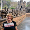 Anne at the Bridge and Tole Om (South) Gate - Angkor Thom