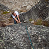"""Peter pulls the lieback crux on the second pitch of """"Toto"""" (5.7)."""