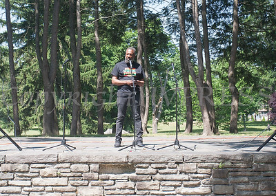 People gathered in Downing Park to speak out about systemic racism and the need for change on all levels before marching to city hall on July 4, 2020. Hudson Valley Press/CHUCK STEWART, JR.