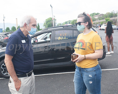 New York State Assemblyman Jonathan Jacobson speaks with a  constituent as the Newburgh LGBTQ Center hosted a caravan on Sunday, June 28, 2020 that drove thru Newburgh, Beacon, Poughkeepsie New Paltz, Rosendale, Kingston and Hudson, NY. Hudson Valley Press/CHUCK STEWART, JR.