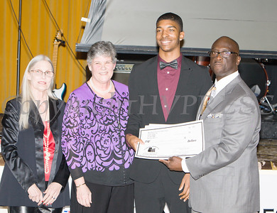Kendall Scott receives his scholarship award during the 22nd Annual Tuition Assistance Awards Celebration of the Major General Irene Trowell-Harris Chapter of the Tuskegee Airmen on Saturday, February 8, 2020 at Anthony's Pier 9 in New Windsor, NY. Hudson Valley Press/CHUCK STEWART, JR.