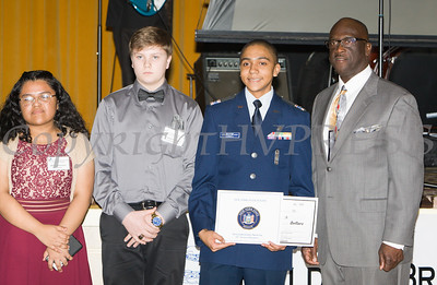 Maria Herrera and Andrew Keller introduced scholarship award recipient Miguel Connell along with Glendon Fraser during the 22nd Annual Tuition Assistance Awards Celebration of the Major General Irene Trowell-Harris Chapter of the Tuskegee Airmen on Saturday, February 8, 2020 at Anthony's Pier 9 in New Windsor, NY. Hudson Valley Press/CHUCK STEWART, JR.