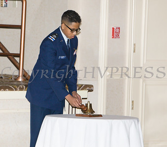 Mr. Connell rings the bell for the Lonely Eagles Ceremony during the 22nd Annual Tuition Assistance Awards Celebration of the Major General Irene Trowell-Harris Chapter of the Tuskegee Airmen on Saturday, February 8, 2020 at Anthony's Pier 9 in New Windsor, NY. Hudson Valley Press/CHUCK STEWART, JR.