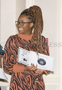 Keyondrah Murphy received a scholarship award during the 22nd Annual Tuition Assistance Awards Celebration of the Major General Irene Trowell-Harris Chapter of the Tuskegee Airmen on Saturday, February 8, 2020 at Anthony's Pier 9 in New Windsor, NY. Hudson Valley Press/CHUCK STEWART, JR.