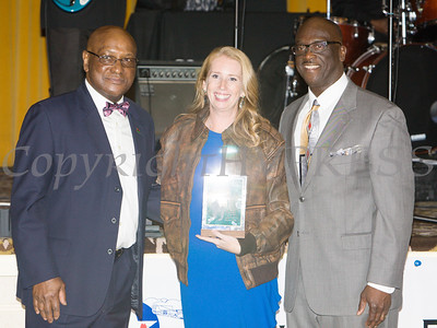 Rev. Julius Jefferson, Trowell-Harris Chapter Honoree Heather Howley, and Glendon Fraser at the 22nd Annual Tuition Assistance Awards Celebration of the Major General Irene Trowell-Harris Chapter of the Tuskegee Airmen on Saturday, February 8, 2020 at Anthony's Pier 9 in New Windsor, NY. Hudson Valley Press/CHUCK STEWART, JR.