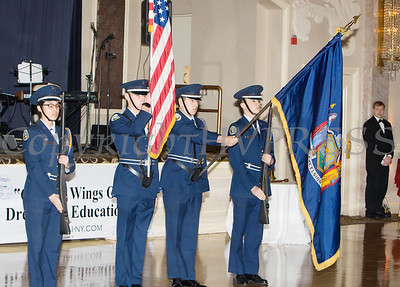 The Newburgh Free Academy Air Force JROTC Posts the Colors during the 22nd Annual Tuition Assistance Awards Celebration of the Major General Irene Trowell-Harris Chapter of the Tuskegee Airmen on Saturday, February 8, 2020 at Anthony's Pier 9 in New Windsor, NY. Hudson Valley Press/CHUCK STEWART, JR.