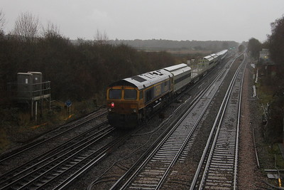 66745 Worting Junction 16/12/20 on the rear of 6X24 Derby Litchurch Lane to Eastleigh with 701015