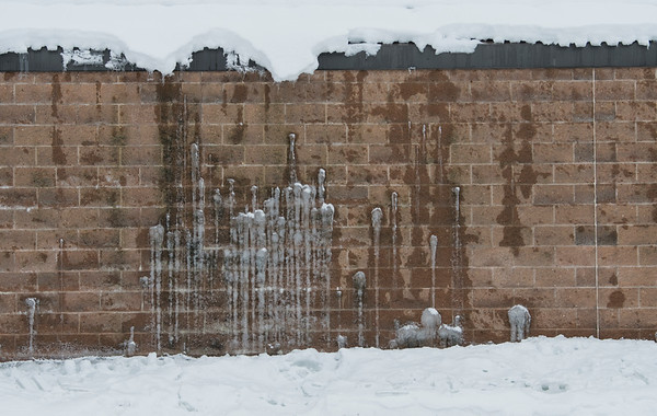 Repeated snowfalls and melts made for natural artwork on the side of the Kinex Arena in St. Albert on Saturday Feb. 1, 2020.  John Lucas/St. Albert Gazette