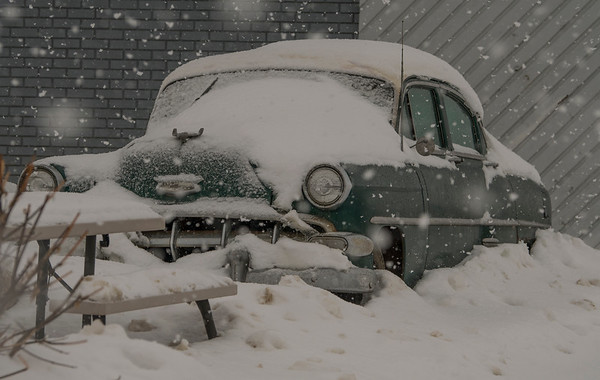 Falling snow covers a vintage early 1950's Chevrolet in Morinville on Saturday Feb. 1, 2020.  John Lucas/St. Albert Gazette