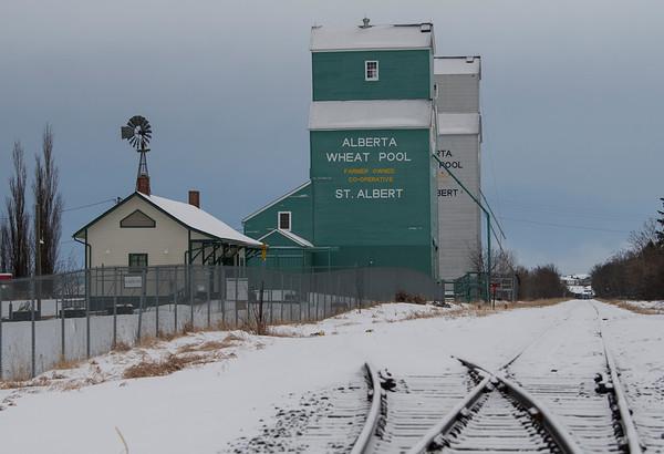 A fresh coat of snow decorates the tracks and the elevators in Grain Elevator Park in St. Albert on Saturday Feb. 1, 2020.  John Lucas/St. Albert Gazette
