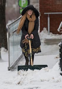 Director Jenny Willson shovels a fresh snowfall from the sidewalks in front of the Art Gallery of St. Albert in St. Albert on Saturday Feb. 1, 2020.  John Lucas/St. Albert Gazette