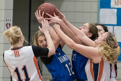 Bandit Olivia Pedersen attracted a crowd during a game between the Beaumont Composite High School Bandits (in blue) and Morinville Community High School Wolves (in white) at Morinville High School on Saturday Feb. 1, 2020.  John Lucas/St. Albert Gazette