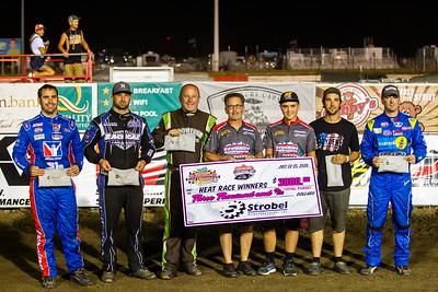 Round 2 Heat Race winners (L-R): Josh Richards, Kyle Bronson, Jimmy Owens, Ricky Weiss and Tim McCreadie.