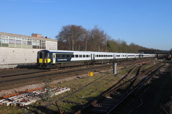 2410 Basingstoke 21/01/20 on the rear of diverted 9P38 Portsmouth Harbour to Waterloo with 2423