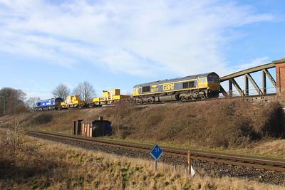 66717 Battledown 18/01/20 3Y88 Totton Yard to Totton Yard via Basingstoke with 66727