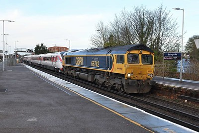27 January 2020 :: 66742 with  801 225 at Basingstoke and train 5X98 from Eastleigh to Acton Main Line