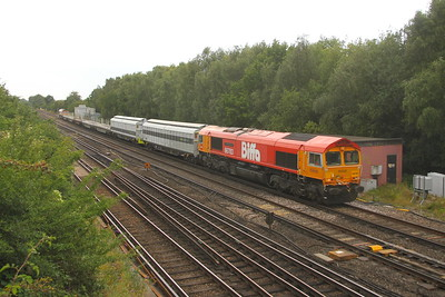 66783 Worting Junction 31/07/20 6Z15 Eastleigh to Chaddesden Sidings with 66787 on the rear