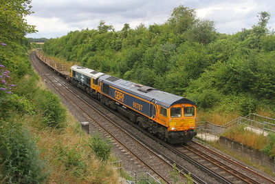 66767 Popham 24/07/20 6X01 Scunthorpe to Eastleigh with 66789