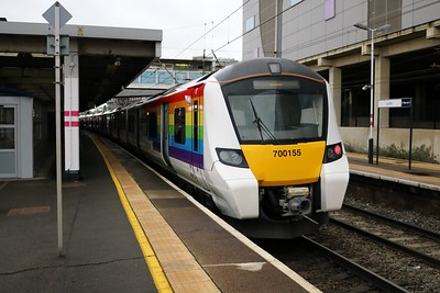 700155 Rainbow Livery at Luton