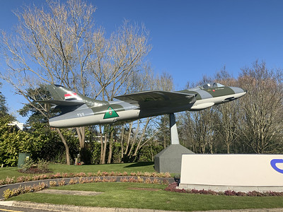 25 March 2020 :: My daily walk today gave me the opportunity to photograph the plinthed Hawker Hunter in the Chineham Business Park.  The aircraft is E-408/WT 720 which was built in 1956 for the Royal Danish Air Force