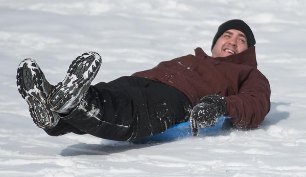 Scott Forest slides on the Seven Hills in St. Albert on Sunday Mar. 1, 2020. .(JOHN LUCAS/St Albert Gazette)