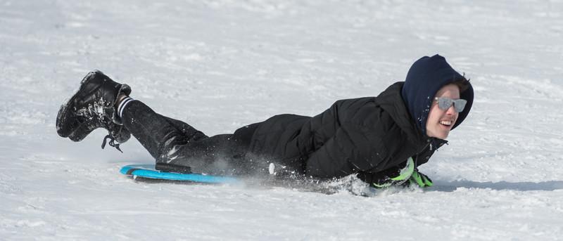 Daniel Sayfullin, 16, slides down on the Seven Hills in St. Albert on Sunday Mar. 1, 2020. .(JOHN LUCAS/St Albert Gazette)