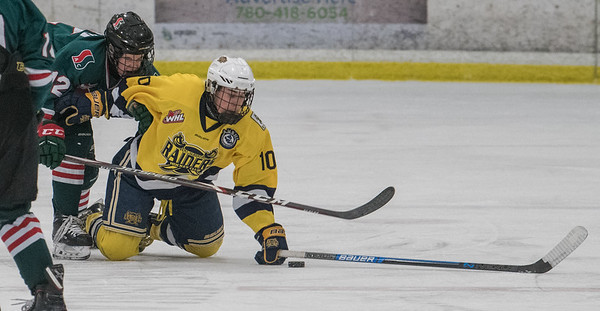 Jacob Goudreau gets taken down by Zach Coutu during a playoff game between the St. Albert Gregg Distributors Sabres (in yellow) and SSAC Lions (in green) at Jarome Iginla Arena in St. Albert on Sunday Mar. 1, 2020. (JOHN LUCAS/St Albert Gazette)