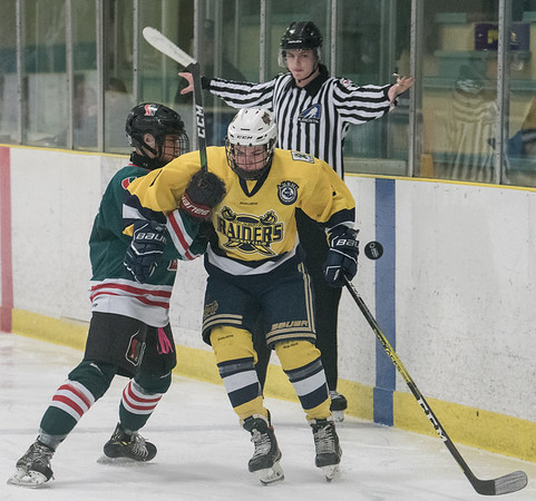 Jaden Beauchamp punches the puck across the blue line against Ryland Williams during a playoff game between the St. Albert Gregg Distributors Sabres (in yellow) and SSAC Lions (in green) at Jarome Iginla Arena in St. Albert on Sunday Mar. 1, 2020. (JOHN LUCAS/St Albert Gazette)